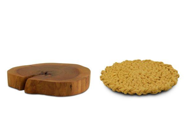 Podkładki z drewna i bawełny